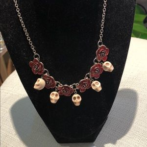 Skull And Rose Necklace